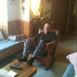 Hubby relaxing before bed in the Alaska Chalet Suite. Yes, it's bedtime and the sun is shining!