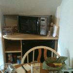 Microwave and little fridge in Garden Suite