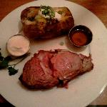 Prime rib with baked potato