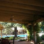 Veranda looking at pool and cabana