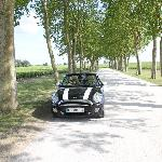 Mini Cooper parked in front of Chateau Margaux - Pauillac