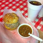 YUM! Pork sandwich with side of BBQ beans!