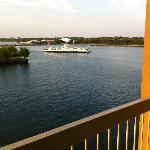 Wolfe Island Ferry from our balcony