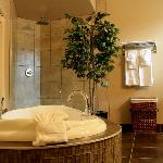 Bathroom with Jacuzzi tub and walk in rain shower