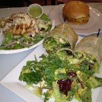 plain burger requested, chicken salad & cilantro pesto chicken wrap -- all excellent!