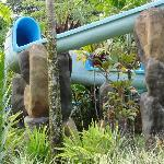 Water slide into one of the pools