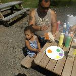 Grandpa & grandaughter enjoying a Lakedale birdhouse painting activity!