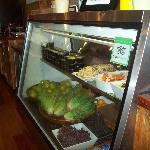 Delicious salads, fruit and meats to choose from.