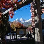 The Three Sisters as seen from the garden at Fernie Heritage Library