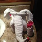 Elephant made by housekeeping from clean towels