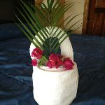 Lovely basket made by housekeeping from clean towels