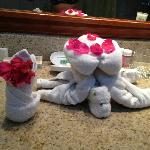 Turtle made by housekeeping from clean towels