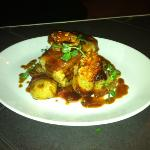 Belly of Pork, Sauté New Potatoes and Bacon, Fine Beans, Aioli and Pork Jus.