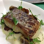 Pan fried Hake with black truffle pomme purée, roast artichokes and Pierre blu mushrooms