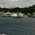 View from the ferry pulling into Mackinac Island