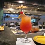 A fancy Cayman Sunset rum drink
