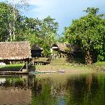 view of the lodge from the river