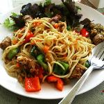 Spaghetti Stir Fried With Northern Sausage  @ 132 Riverside Cafe At The Nonthaburi Pier