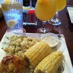 Crab cake dinner with sangria