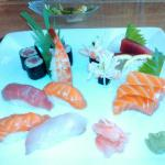 A chef's selection of sushi and sashimi. Very good.