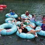 Enjoying a float down the Comal River on Chuck's Tubes