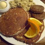 "Vegan Gluten-Free Pancakes, scrambled ""eggs"" and ""sausages"""