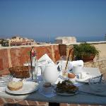 The remnants of breakfast on the terrace