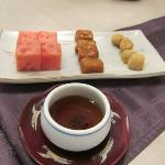 Dessert - mochi, cinnamon cake and watermelon with plum drink
