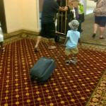 2 year old grandson had to take his own bags out, no dollys