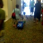2 yr old nephew and grandson having to carry bags out, not dolly's