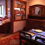 The sideboard where breakfast, is served, looking into the common room on the left.