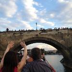 view of Charles Bridge from the boat