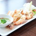 chargrilled jumbo prawns with spicy lime dip
