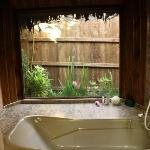 View of private garden from bath tub