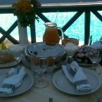Breakfast on our balcony overlooking the pool - best start to the day!