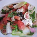 Buffalo mozzarella, fresh figs, watermelon and cured prosciutto salad.