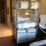 Entire towel trolley park in our room!