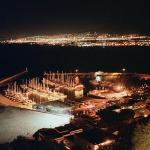 Night view from lounge across the harbour and False Bay