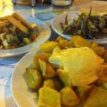 patatas bravas (where's the nice sauce?); pescaito frito; greek salad