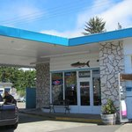 An old gas station is now the Seafood Station