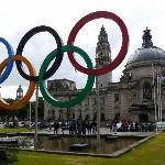 Cardiff City Hall Civic Centre, with Olympic rings