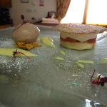 Rhubarb Mousse with Honey Sponge, Rhubarb and Ginger, Rhubarb Ice Cream