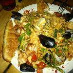 seafood pasta. portion size is redicilous and very tasty!