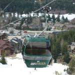 Riding the Creekside gondola - Legends is the brown hotel on the trail