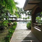 Courtyard, pool, and beach