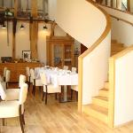The Dining room with staircase leading to the library