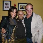 Celebrity Chef Heston Blumenthal and girlfriend Suzanne Pirret with Asha's server Sachin Tilak