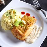 Pistachio Crusted Alaskan Halibut - Wild caught Alaskan Halibut pan sauteed & served with wasabi
