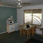 Plenty of space, refrigerator, microwave, coffee maker (shown here), sink and range were conveni