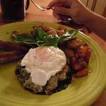 portobello mushroom marinaded with cheese and a poached egg with sausages..yum!!!